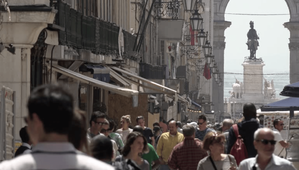 Tourists Visiting Lisbon City, Portugal. LISBON, PORTUGAL - 25 APRIL 2018; Crowd of people walking at Rua Augusta (Augusta street), located in one of the busiest quarters of Lisbon. R By Roddig Stock footage ID: 1010470586